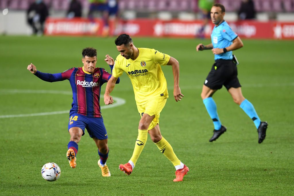 BARCELONA, SPAIN - SEPTEMBER 12: Philippe Coutinho of FC Barcelona runs with the ball during the during the pre-season friendly match between FC Barcelona and Gimnastic de Tarragona at Estadi Johan Cruyff on September 12, 2020 in Barcelona, Spain. (Photo by David Ramos/Getty Images)