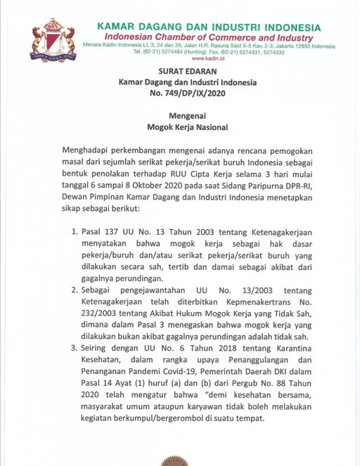 Surat Edaran Kadin Terkait Mogok Kerja Nasional