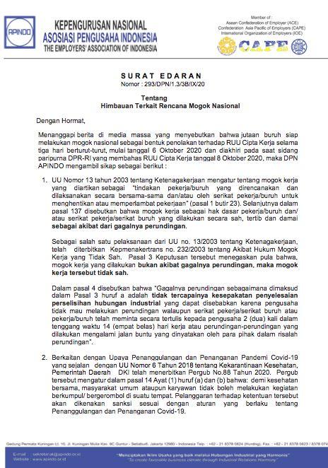 Surat Himbauan Rencana Mogok Nasional