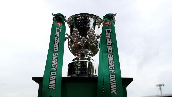 NEWPORT, WALES - AUGUST 27: The League Cup  Trophy ahead of kick off in the Carabao Cup Second Round match between Newport County and West Ham United at Rodney Parade on August 27, 2019 in Newport, Wales. (Photo by Catherine Ivill/Getty Images)