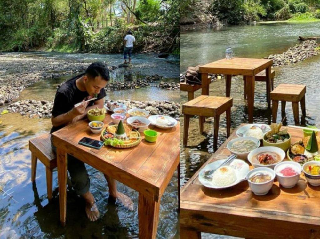 Seru! Di Sini Bisa Makan Enak Sambil Main Air Sungai