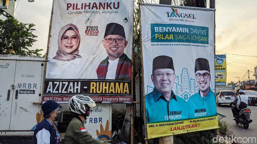 Deretan Spanduk Kampanye Calon Wali Kota Tangsel
