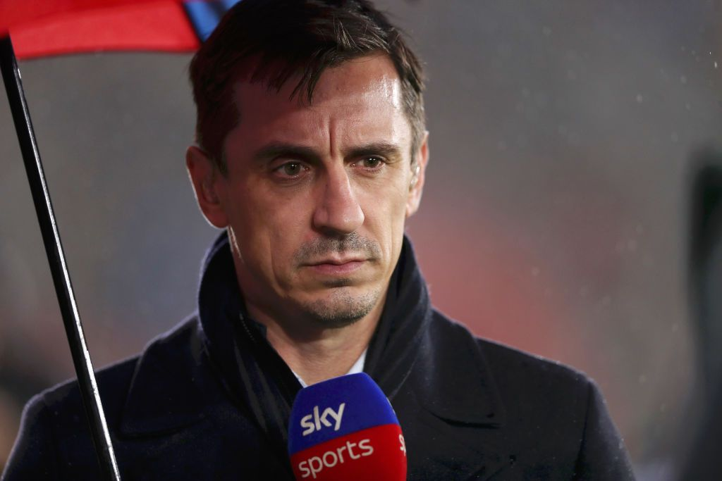 SOUTHAMPTON, ENGLAND - OCTOBER 25: Gary Neville, TV Presenter is seen during the Premier League match between Southampton FC and Leicester City at St Mary's Stadium on October 25, 2019 in Southampton, United Kingdom. (Photo by Naomi Baker/Getty Images)