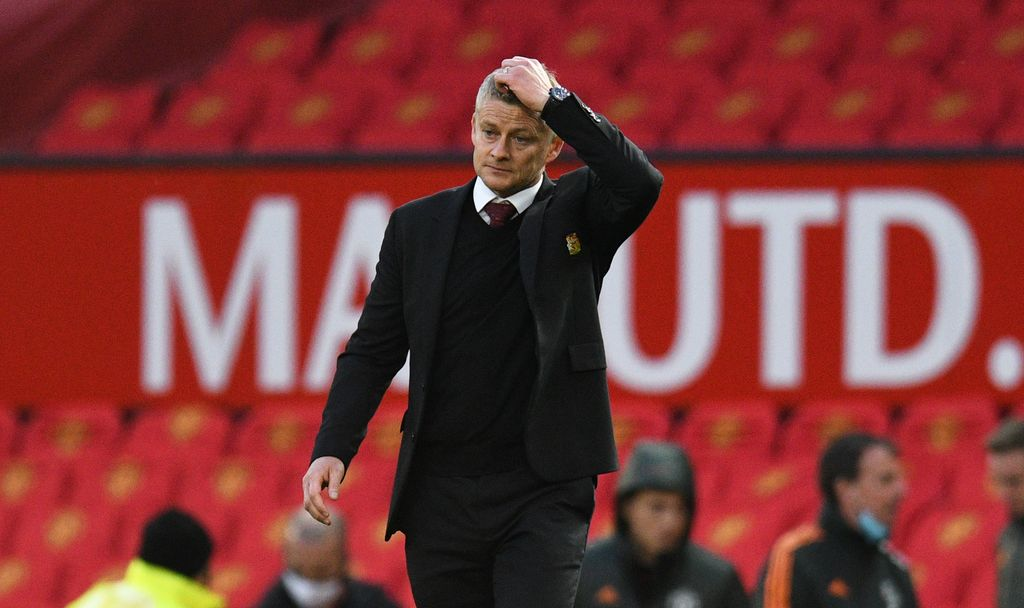 MANCHESTER, ENGLAND - OCTOBER 04: Ole Gunnar Solskjaer, Manager of Manchester United reacts looks dejected following the Premier League match between Manchester United and Tottenham Hotspur at Old Trafford on October 04, 2020 in Manchester, England. Sporting stadiums around the UK remain under strict restrictions due to the Coronavirus Pandemic as Government social distancing laws prohibit fans inside venues resulting in games being played behind closed doors. (Photo by Oli Scarff - Pool/Getty Images)