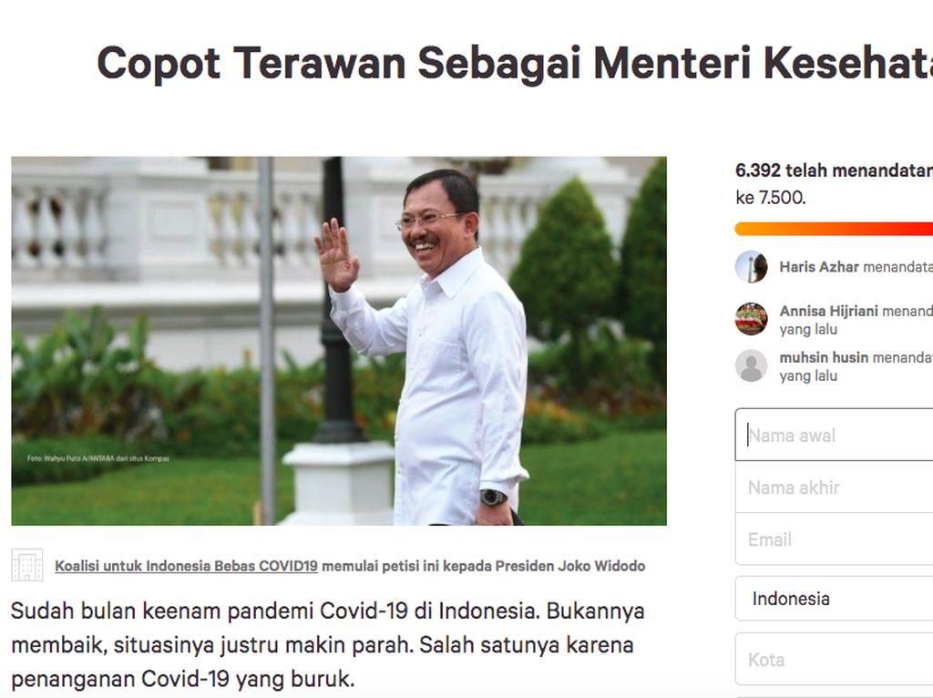 Petisi Online Minta Terawan Dicopot Tembus 6.500 Orang