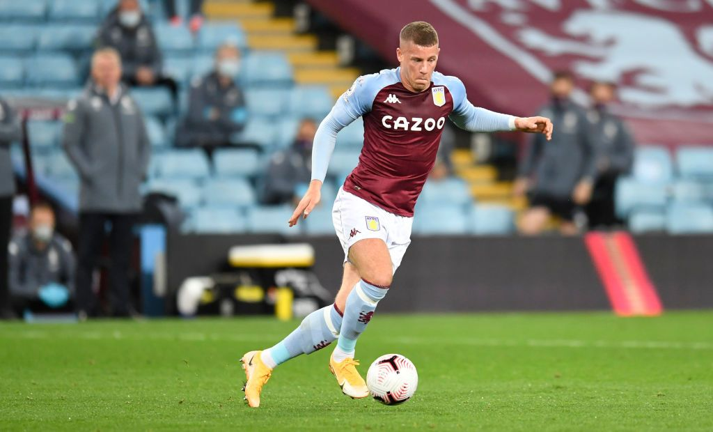 BIRMINGHAM, ENGLAND - OCTOBER 04: Ross Barkley of Aston Villa  celebrates after he scores his team's fifth goal  during the Premier League match between Aston Villa and Liverpool at Villa Park on October 04, 2020 in Birmingham, England. Sporting stadiums around the UK remain under strict restrictions due to the Coronavirus Pandemic as Government social distancing laws prohibit fans inside venues resulting in games being played behind closed doors. (Photo by Peter Powell - Pool/Getty Images)