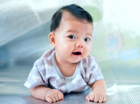 Southeast Asian new born is creeping on the floor. Newborn is wearing gray shirt. Baby is South East Asian. Kid is cute. Child is taking photo indoor. Infant is 4 months. - People, Health care concept