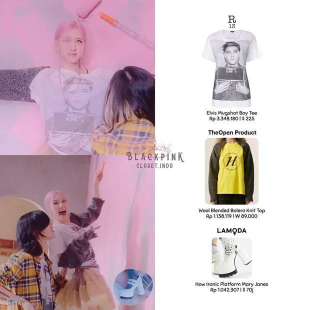 Rose BLACKPINK mengenakan kaus putih dari R13 seharga US$225 atau sekitar Rp3 jutaan.