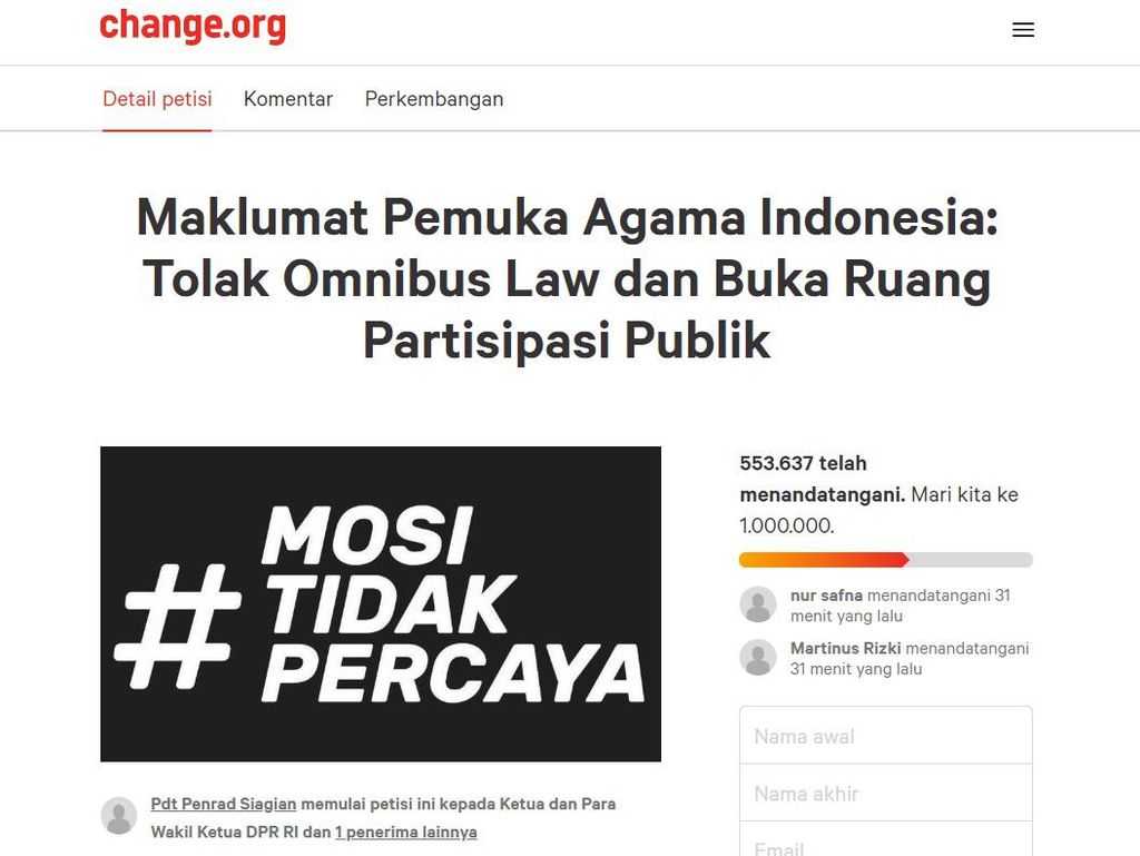 Muncul Petisi Online Pemuka Agama Tolak Omnibus Law