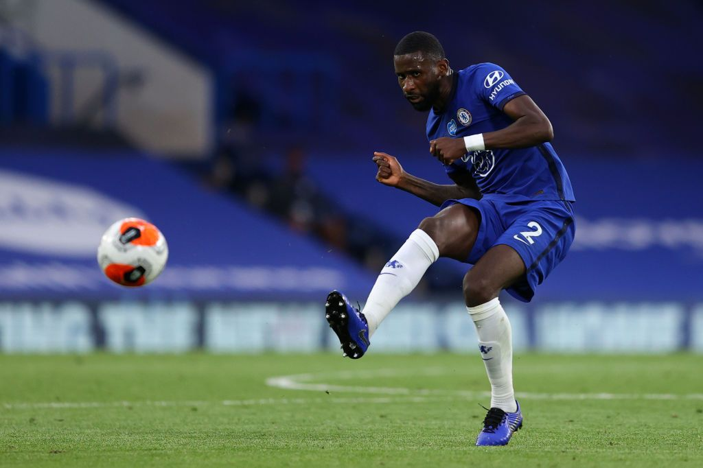 LONDON, ENGLAND - JULY 14: Antonio Rudiger of Chelsea on the ball during the Premier League match between Chelsea FC and Norwich City at Stamford Bridge on July 14, 2020 in London, England. Football Stadiums around Europe remain empty due to the Coronavirus Pandemic as Government social distancing laws prohibit fans inside venues resulting in all fixtures being played behind closed doors. (Photo by Richard Heathcote/Getty Images)