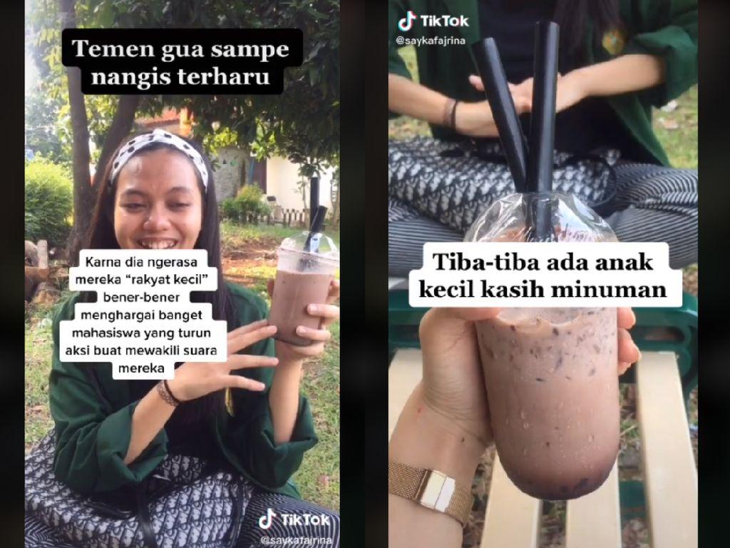 Dikira Mau Demo Tolak Omnibus Law, Mahasiswi Ini Diberi Es Cokelat oleh Warga