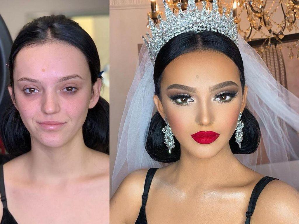 Jadi Mirip Princess, 10 Transformasi Makeup Pengantin Ini Bikin Terpesona