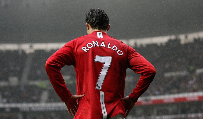 DERBY, UNITED KINGDOM - MARCH 15:  Christano Ronaldo of Manchester during the Barclays Premier League match between Derby County and Manchester United at Pride Park on March 15, 2008 in Derby, England.  (Photo by Ross Kinnaird/Getty Images)
