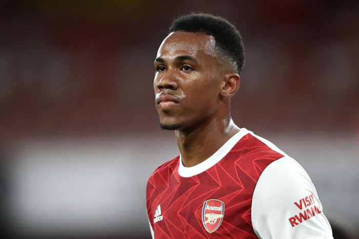 LONDON, ENGLAND - SEPTEMBER 19: Gabriel Magalhaes of Arsenal during the Premier League match between Arsenal and West Ham United at Emirates Stadium on September 19, 2020 in London, England. (Photo by Julian Finney/Getty Images)