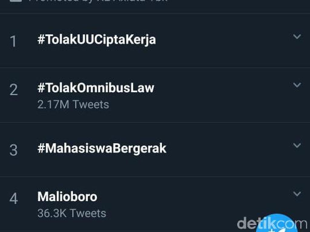 Demo Omnibus Law di Yogya Ricuh, Malioboro Trending di Twitter