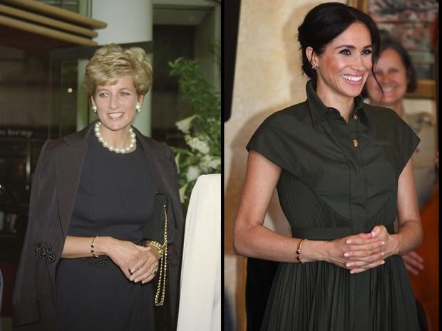 Di lain kesempatan Meghan juga terlihat mengenakan perhiasan lainnya milik Putri Diana