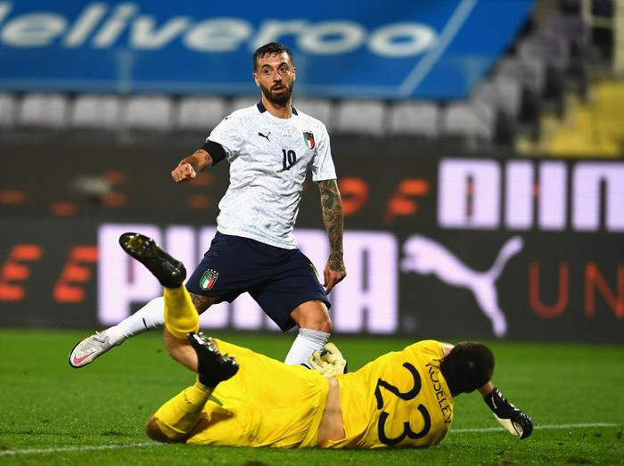 FLORENCE, ITALY - OCTOBER 07:  Francesco Caputo of Italy scores the second goal during the international friendly match between Italy and Moldova at Artemio Franchi on October 7, 2020 in Florence, Italy.  (Photo by Claudio Villa/Getty Images)