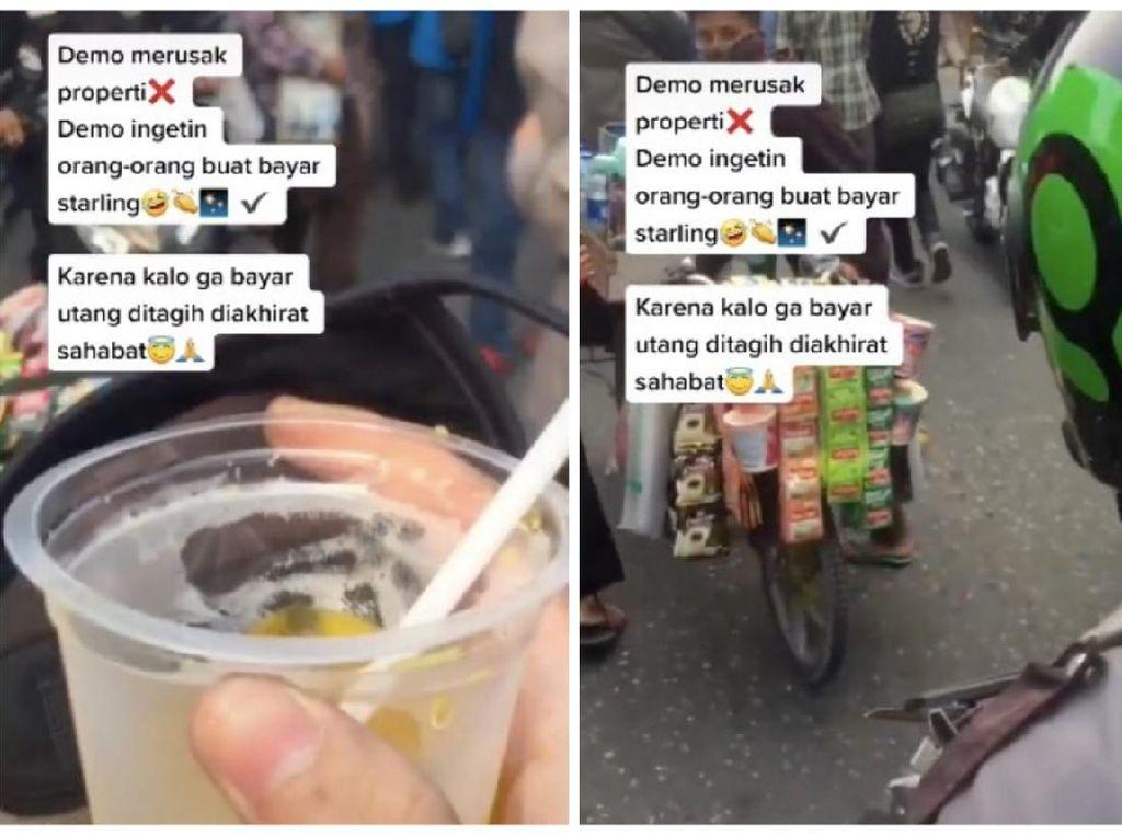 Ikut Demo Omnibus Law, Pria Ini Ingatkan Massa Bayar Minuman Starling