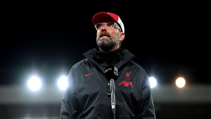 LIVERPOOL, ENGLAND - SEPTEMBER 12:  Liverpool Manager Jurgen Klopp talks to the media after the Premier League match between Liverpool and Leeds United at Anfield on September 12, 2020 in Liverpool, England. (Photo by Shaun Botterill/Getty Images)