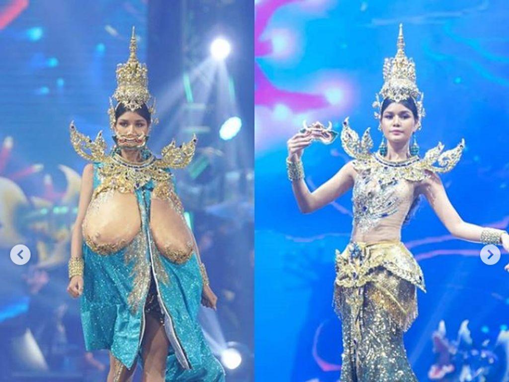 Payudara Super Besar Jadi Kostum Nasional Finalis Miss Universe Thailand