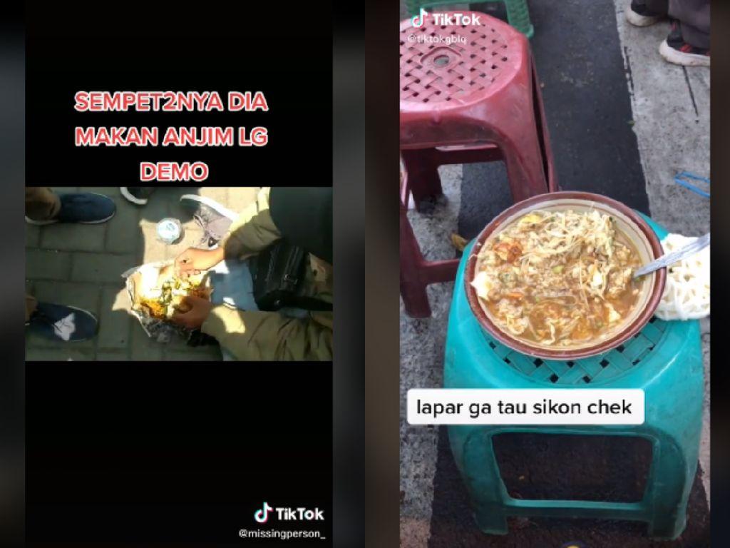 Kocak! Pendemo Omnibus Law Ini Asyik Makan Nasi Padang dan Soto Ayam