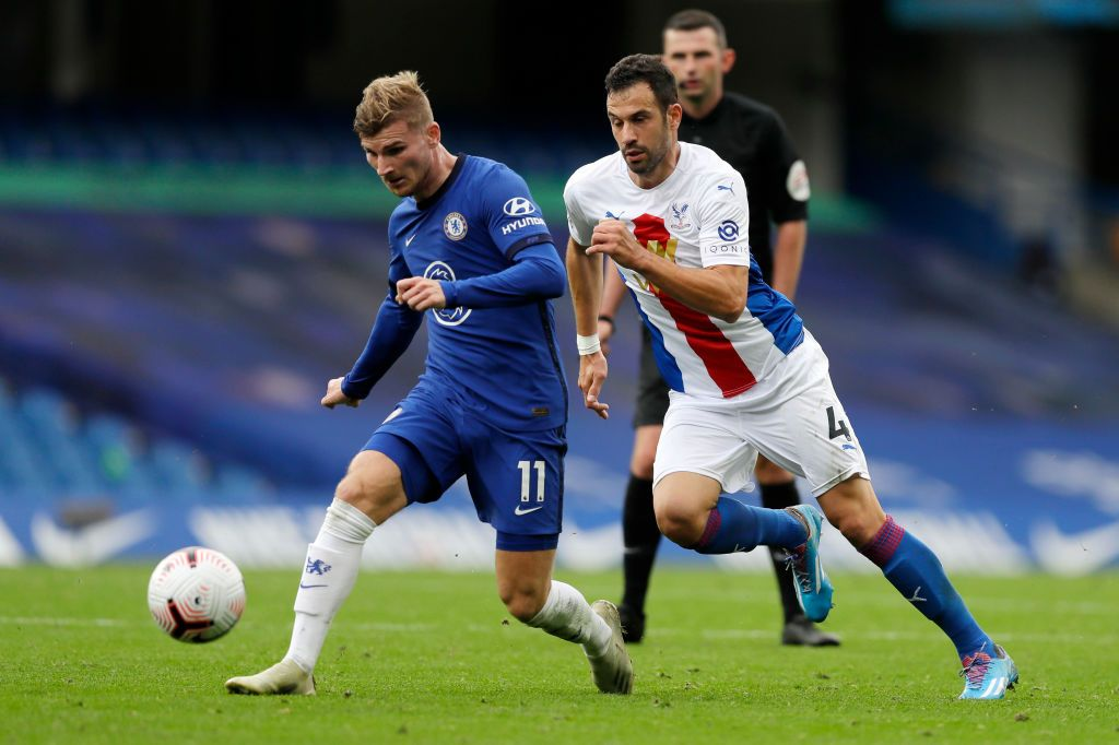 LONDON, ENGLAND - SEPTEMBER 20: Timo Werner of Chelsea in action during the Premier League match between Chelsea and Liverpool at Stamford Bridge on September 20, 2020 in London, England. (Photo by Michael Regan/Getty Images)