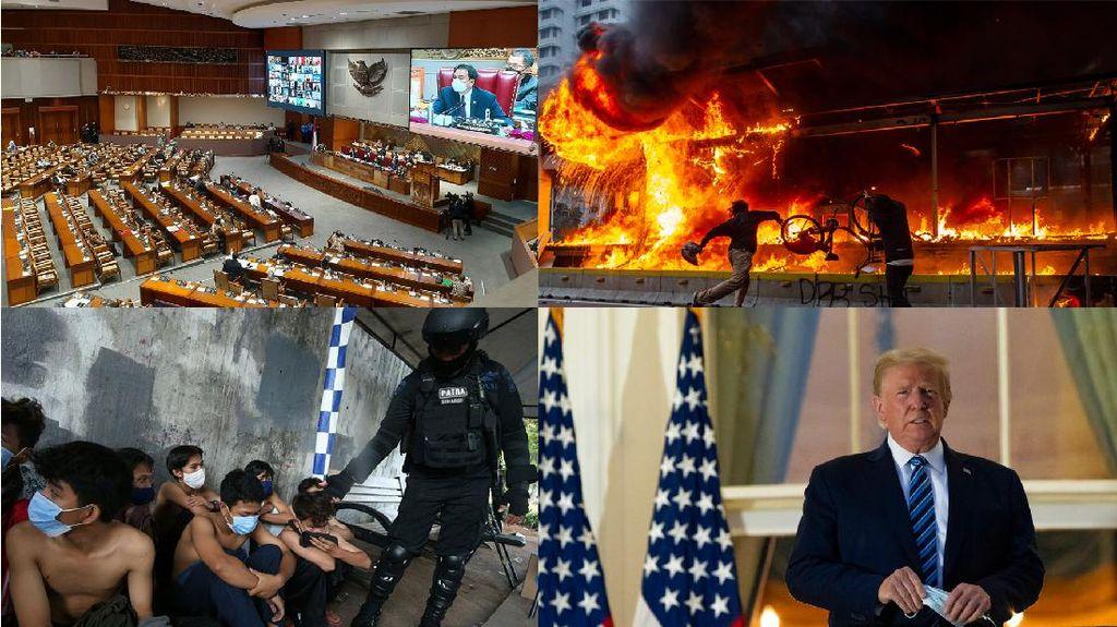Top 5 Foto Pekan Ini: Demo Omnibus Law-Trump Copot Masker