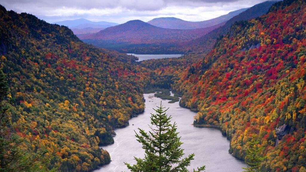 Cantiknya Pemandangan Musim Gugur di Lereng Gunung AS