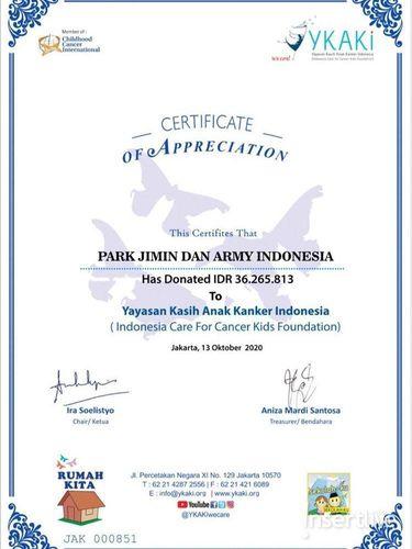 Sertifikan penghargaan Jimin BTS dan ARMY Indonesia dari YKAI