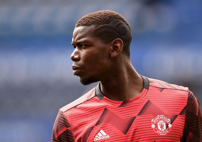 LEICESTER, ENGLAND - JULY 26: Paul Pogba of Manchester United warms up prior to the Premier League match between Leicester City and Manchester United at The King Power Stadium on July 26, 2020 in Leicester, England. Football Stadiums around Europe remain empty due to the Coronavirus Pandemic as Government social distancing laws prohibit fans inside venues resulting in all fixtures being played behind closed doors. (Photo by Oli Scarff/Pool via Getty Images)