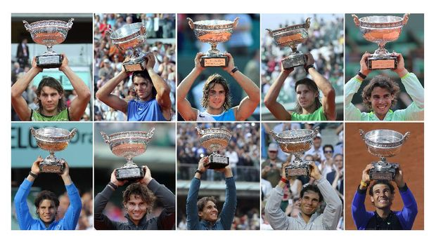 A combination of pictures shows Spain's Rafael Nadal posing with the Muskeeters trophy during his ten victories in the men's French Tennis Open at the Roland Garros stadium. (From top L to bottom R) Nadal poses with his trophy on June 5, 2005; on June 11, 2006; on June 10, 2007; on June 8, 2008; on June 6, 2010; on June 5, 2011; on June 11, 2012; on June 9, 2013; on June 8, 2014 and on June 11, 2017. - Rafael Nadal won a record 10th French Open title against Stan Wawrinka in their final on June 11 June, 2017. (Photo by - / AFP)