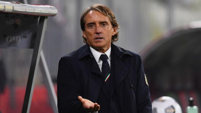 GDANSK, POLAND - OCTOBER 11:  Head coach of Italy Roberto Mancini reacts during the UEFA Nations League group stage match between Poland and Italy at Gdansk Stadium on October 11, 2020 in Gdansk, Poland.  (Photo by Claudio Villa/Getty Images)