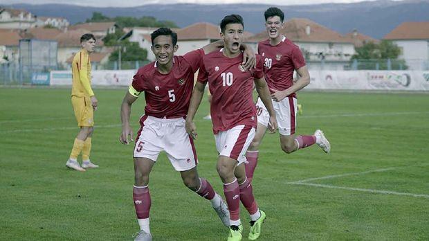 Laga uji coba Timnas Indonesia U-19 vs Makedonia Utara di Stadion NK Junak Sinj, Split, Kroasia, Minggu (11/10/2020). Timnas Indonesia menang 4-1 atas Macedonia Utara. pssi.org
