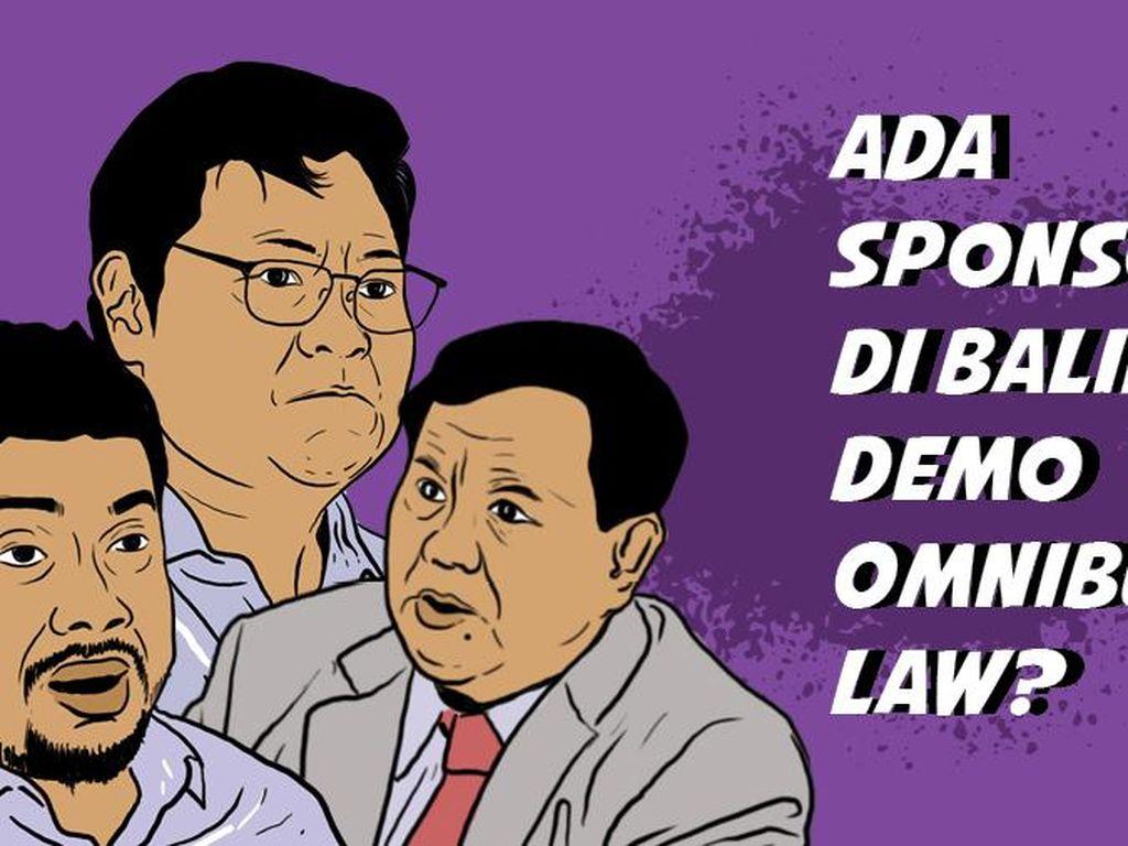 Kompak! Prabowo-Airlangga Tuding Ada Sponsor Demo Tolak Omnibus Law
