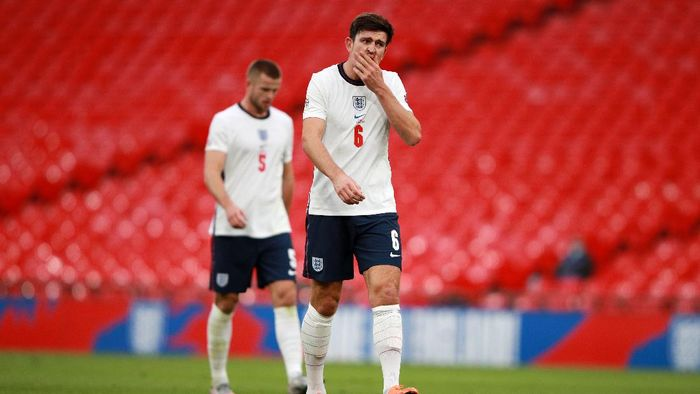 LONDON, ENGLAND - OCTOBER 11: Harry Maguire of England reacts during the UEFA Nations League group stage match between England and Belgium at Wembley Stadium on October 11, 2020 in London, England. Football Stadiums around Europe remain empty due to the Coronavirus Pandemic as Government social distancing laws prohibit fans inside venues resulting in fixtures being played behind closed doors. (Photo by Ian Walton - Pool/Getty Images)
