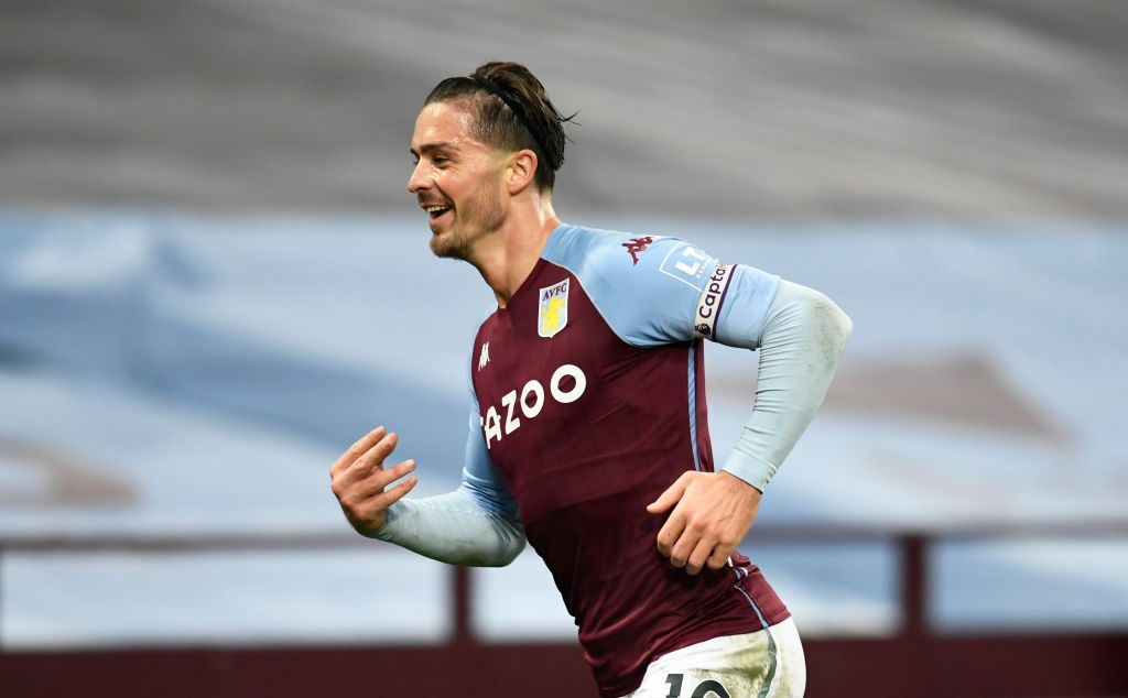 BIRMINGHAM, ENGLAND - OCTOBER 04: Jack Grealish of Aston Villa  celebrates after scoring his team's seventh goal  during the Premier League match between Aston Villa and Liverpool at Villa Park on October 04, 2020 in Birmingham, England. Sporting stadiums around the UK remain under strict restrictions due to the Coronavirus Pandemic as Government social distancing laws prohibit fans inside venues resulting in games being played behind closed doors. (Photo by Peter Powell - Pool/Getty Images)