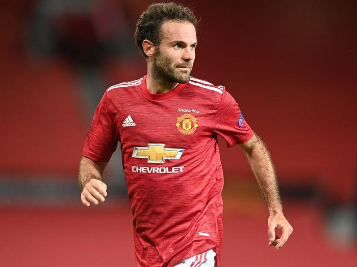 MANCHESTER, ENGLAND - AUGUST 05: Juan Mata of Manchester United in action during the UEFA Europa League round of 16 second leg match between Manchester United and LASK at Old Trafford on August 05, 2020 in Manchester, England. (Photo by Michael Regan/Getty Images)