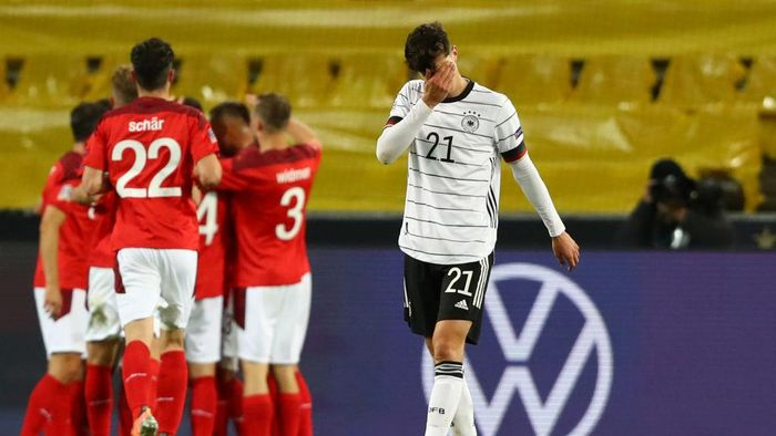 COLOGNE, GERMANY - OCTOBER 13: Kai Havertz of Germany shows his disappointment after the third goal for Switzerland during the UEFA Nations League group stage match between Germany and Switzerland at RheinEnergieStadion on October 13, 2020 in Cologne, Germany. Football Stadiums around Europe remain empty due to the Coronavirus Pandemic as Government social distancing laws prohibit fans inside venues resulting in fixtures being played behind closed doors. (Photo by Martin Rose/Getty Images)