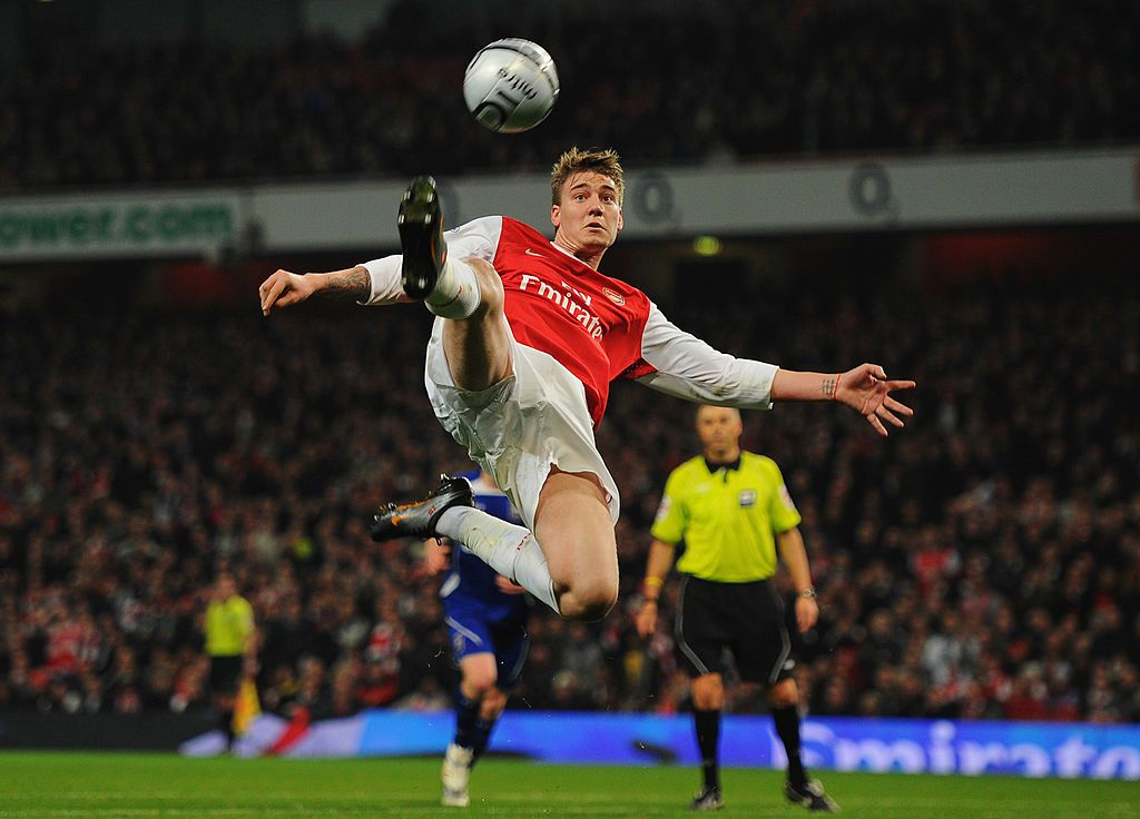 LONDON - NOVEMBER 25:  Nicklas Bendtner of Arsenal celebrates scoring the first goal for Arsenal during the UEFA Champions League Group G match between Arsenal and Dynamo Kiev at the Emirates Stadium on November 25, 2008 in London, England.  (Photo by Jamie McDonald/Getty Images)