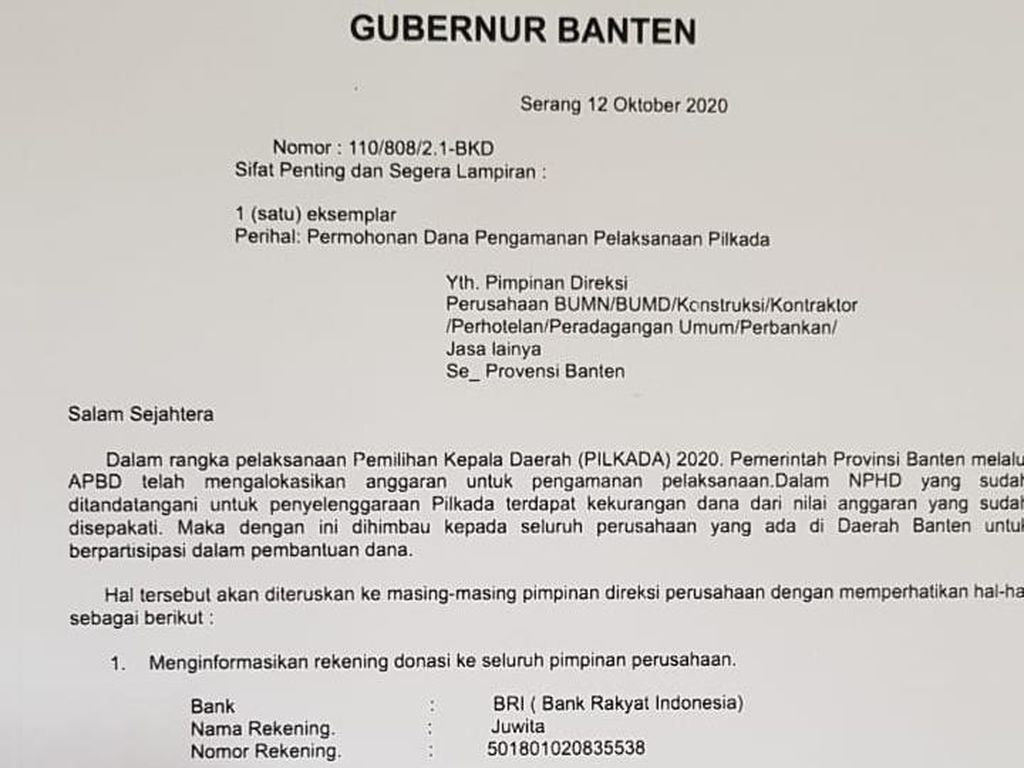 Pemprov Lapor Polisi soal Surat Palsu Gubernur Banten Minta Dana Pilkada