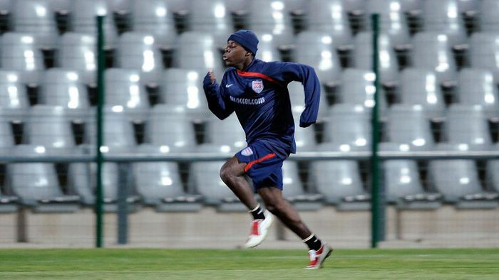 JOHANNESBURG, SOUTH AFRICA - JUNE 26:  Freddy Adu #19 of USA during training at Rand Stadium on June 26, 2009 in Johannesburg, South Africa. USA will play against Brazil on Sunday in the championship match of the 2009 FIFA Confederations Cup.  (Photo by Kevork Djansezian/Getty Images)