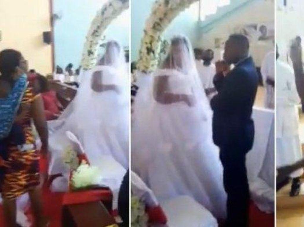 Viral Aksi Istri Gagalkan Pernikahan Suami dan Pelakor Sambil Gendong Anak