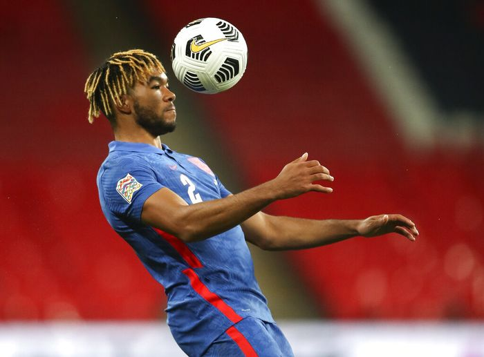 Englands Reece James attempts to control the ball during the UEFA Nations League soccer match between England and Denmark at Wembley Stadium in London, England, Wednesday, Oct. 14, 2020. (Nick Potts/Pool via AP)