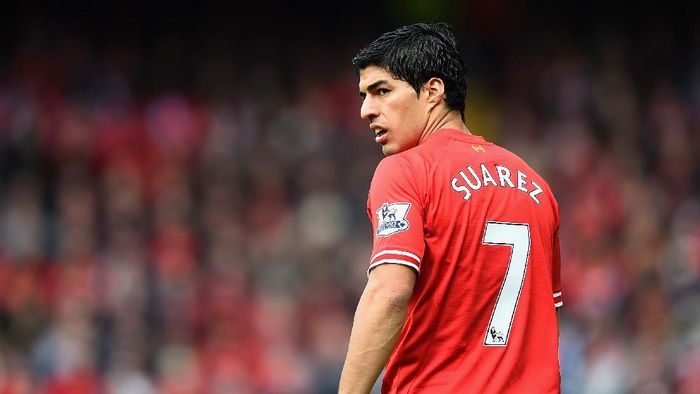 LIVERPOOL, ENGLAND - MAY 11:  Luis Suarez of Liverpool looks on during the Barclays Premier League match between Liverpool and Newcastle United at Anfield on May 11, 2014 in Liverpool, England.  (Photo by Laurence Griffiths/Getty Images)