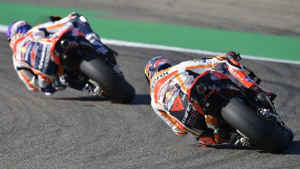 Stefan Bradl dan Alex Marquez di kualifikasi MotoGP Aragon 2020.