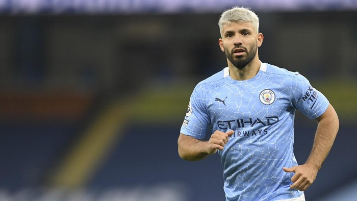 Manchester Citys Sergio Aguero runs during the English Premier League soccer match between Manchester City and Arsenal at the Etihad stadium in Manchester, England, Saturday, Oct. 17, 2020. (Michael Regan/Pool via AP)