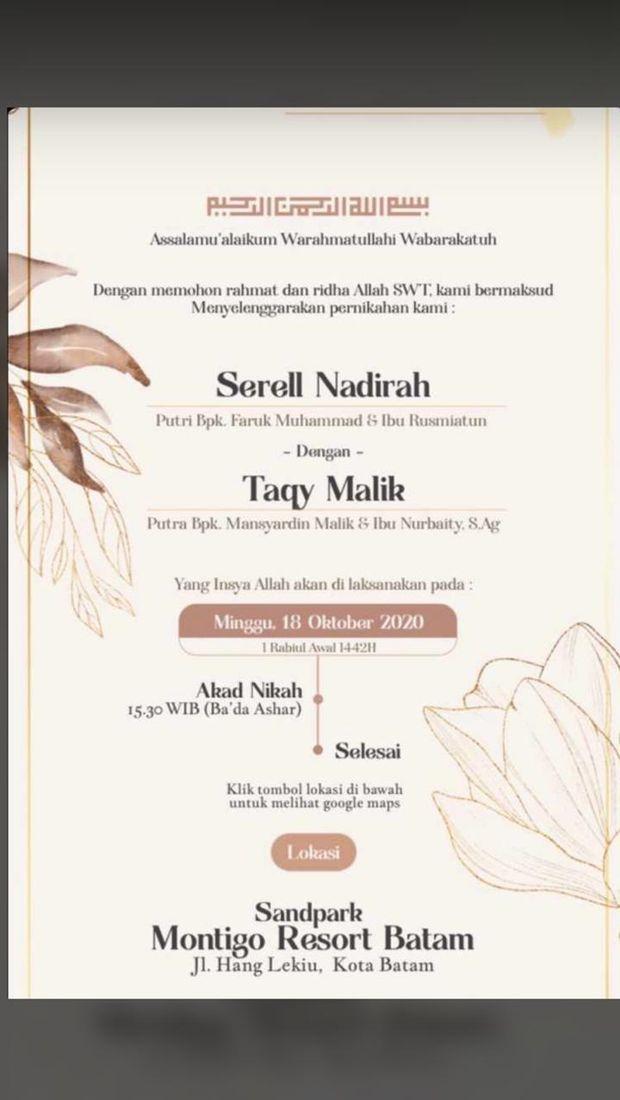 Surat undangan pernikahan Taqy Malik