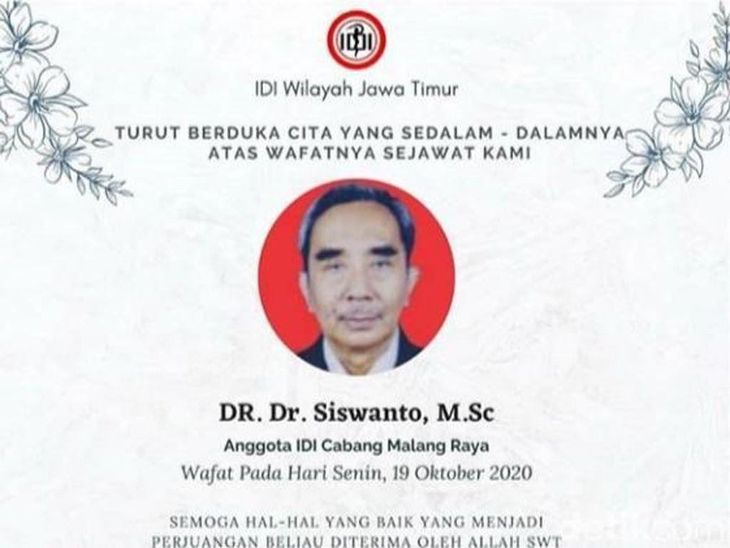 Dokter di Malang Meninggal Setelah 5 Hari Berjuang Lawan COVID-19