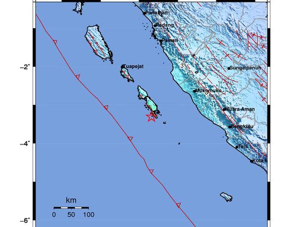 Pulau Pagai Selatan Sumbar Diguncang 3 Gempa dalam 1 Jam