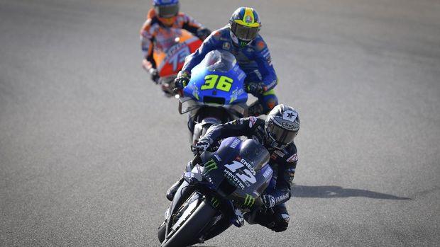 Maverick Vinales, Joan Mir, dan Alex Marquez di MotoGP Aragon 2020.